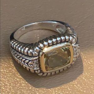 SS/14K/Diamonds/Green Amethyst (Prasiolite) Ring